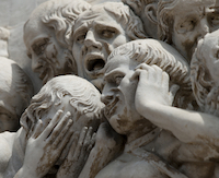 statue, faces of despair